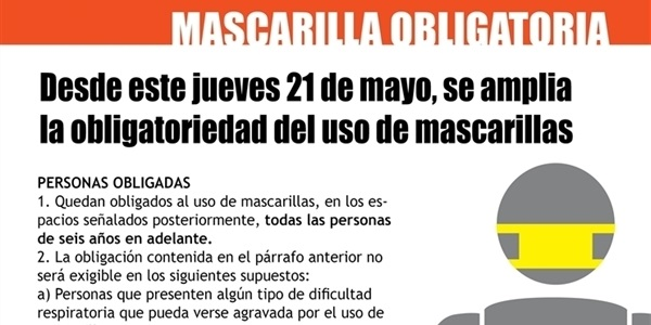 Des d'este dijous 21 de maig s'amplia l'obligatorietat de l'ús de mascareta